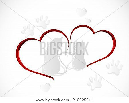 Silhouettes of two cats in love - vector illustration