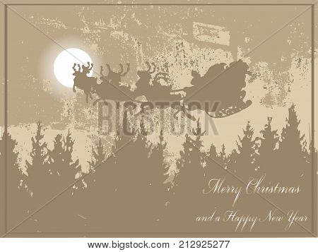 Brown abstract christmas card with moon and Santa