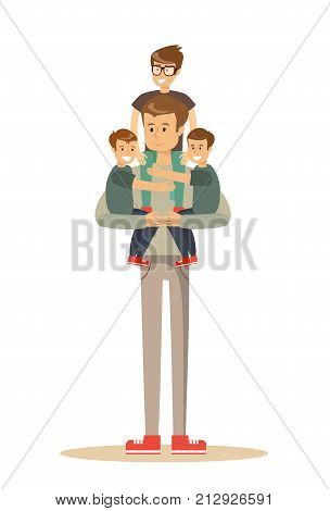 Happy father With 3 Children. Stock flat vector illustration.