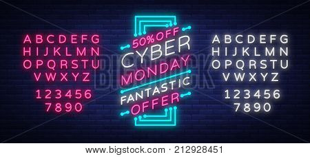 Cyber Monday concept banner in fashionable neon style, luminous signboard, advertisement of sales rebates of cyber Monday. Vector illustration for your projects. Editing text neon sign.