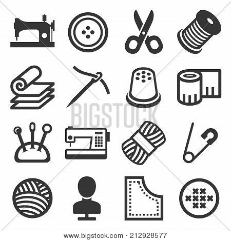Sewing Icons Set on White Background. Vector illustration