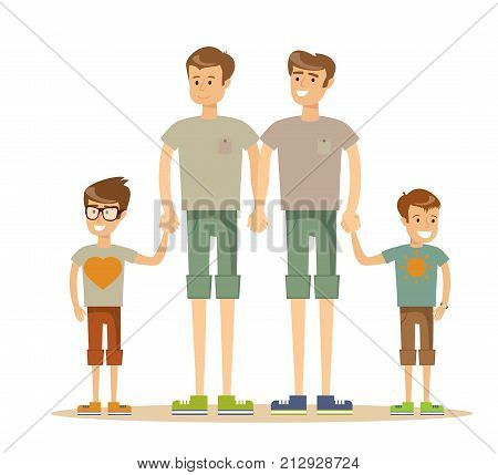 Happy gay couple with children. Stock flat vector illustration.
