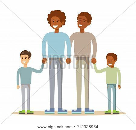 Happy mixed-race gay family . Stock flat vector illustration.