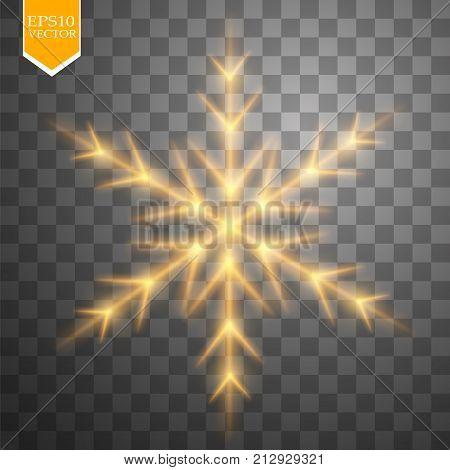 Shine gold snowflake with glitter isolated on transparent background. Christmas decoration with shining sparkling light effect. Vector eps 10