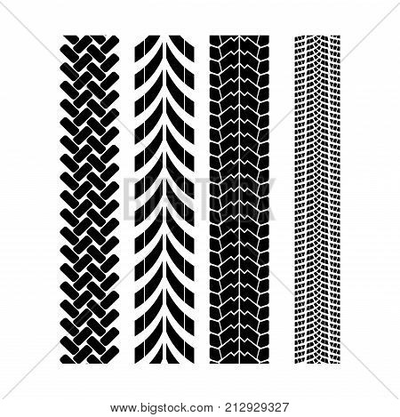 Tire track brush seamless border vector. Wheel protector design.