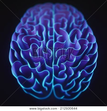 3D illustration. Walls shaped like a brain in a maze with no way out.