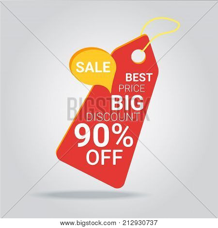 90% OFF Discount Sticker. Sale Red Tag Isolated Vector Illustration. Discount Offer Price Label Vector Price Discount Symbol.