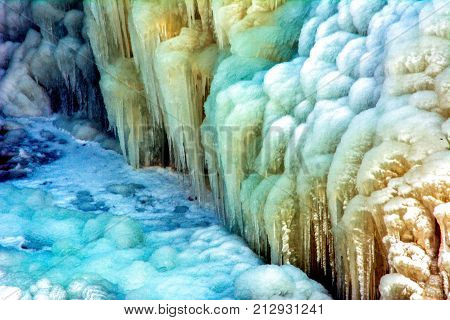 Icecycles in Ausable Chasm upstate New York