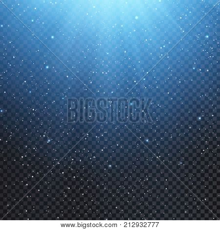 Light effect overlay with falling snow, rays and sparkles with blue glow on transparent background. Vector Christmas background