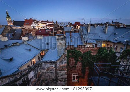 Late evening view from the roof of building on the Old Town of Lviv Ukraine