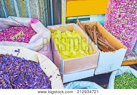 The Spices And Herbs In Tehran Market