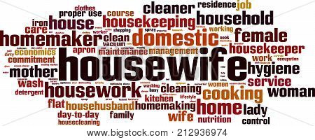 Housewife word cloud concept. Vector illustration on white