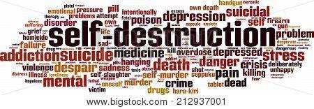 Self-destruction word cloud concept. Vector illustration on white