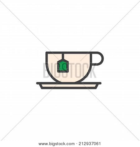 Tea cup with tea bag filled outline icon, line vector sign, linear colorful pictogram isolated on white. Symbol, logo illustration. Pixel perfect vector graphics