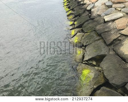 stones on the waterfront with green moss. Markings of water levels on the rocks on the waterfront