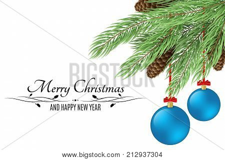 Christmas background with text. Merry Christmas and Happy New Year. Christmas tree with cones isolated on white background. Black text. Blue realistic christmas balls. Vector illustration