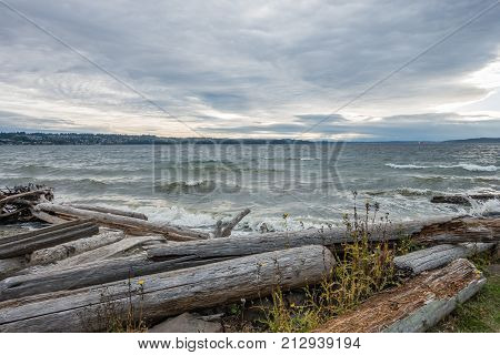 A view of the Puget Sound on a stormy day.