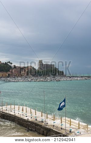 View of the Gulf of the Poets from Lerici, Liguria, Italy