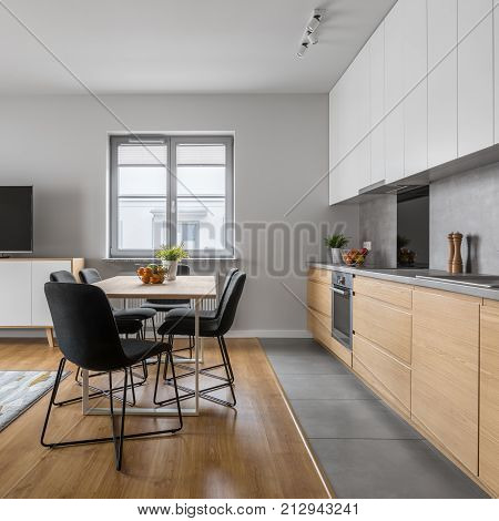 Modern Wood Kitchen With Table