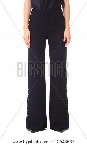 Bell Bottom Formal Trousers On Model Legs Close Up Cut Photo