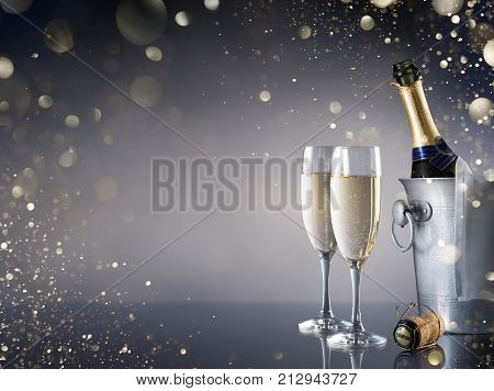 Celebration With Champagne - Pair Of Flutes And Bottle In Ice Bucket