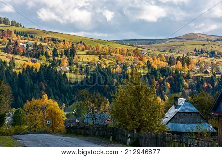 Carpathian Mountain Village In Autumn