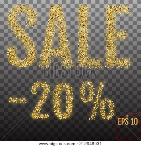 Gold Sale 20 Percent. Golden Sale 20 Percent On Transparent Bac