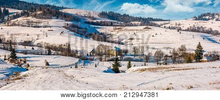 Panorama Of Carpatian Village In Winter
