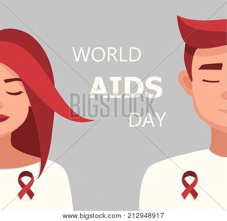Worlds Aids day card 1 december. Vector cartoon Woman and Man Red Ribbon Worlds AIDS Day.vector illustration for the world day of fight against AIDS.Medical illustration