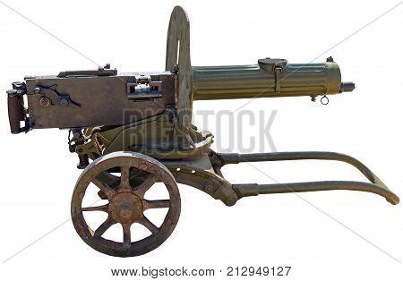 Old Machine Gun Maxim's system on white background