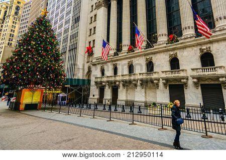 Wall Street With Christmas Tree