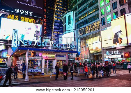 Nypd Station In Times Square