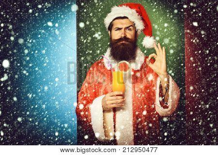 Serious Bearded Santa Claus Man