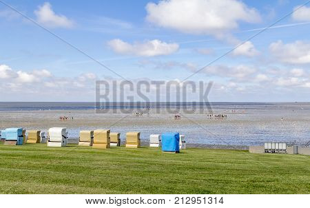 coastal scenery around Buesum in Dithmarschen at Schleswig-Holstein Germany