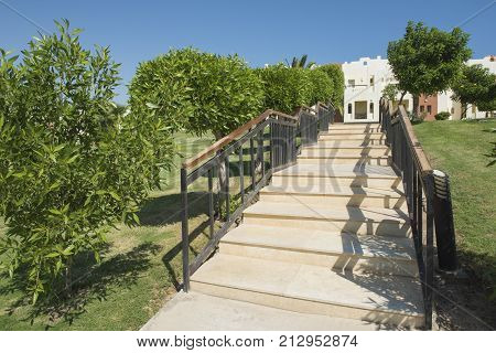 Gardens With Steps In Grounds Of A Tropical Hotel Resort