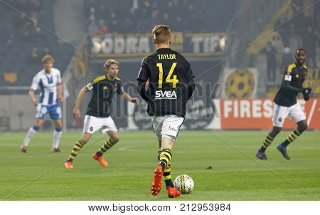 Solna Sweden - Oct 30 2017: Soccer Player Robert Taylor (aik) Have The Ball Under Control. October 3