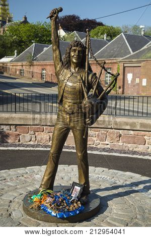 Angus Scotland. May 25th 2017. Statue memorial for the late singer of acdc Bon Scott in his birth town of Kirriemuir in Angus Scotland a festival is held here yearly in his honour called Bonfest.
