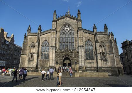 EDINBURGH - SCOTLAND 26th May 2017 - St.Giles Cathedral High Church and statue to the Fifth Duke of Buccleuch. St.Giles is the patron saint of Edinburgh
