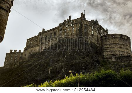 Edinburgh castle view looking skyward from foot of castle rock