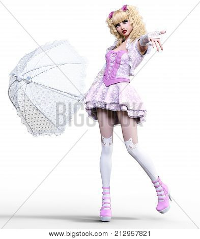 Young beautiful girl with doll face umbrella posing photo shoot.Short light pink dress, stockings, shoes.Long blonde hair.Bright goth make up.Conceptual fashion art.Realistic 3D render illustration.