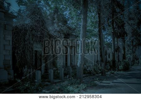 Abandoned crypt at Santiago General Cemetery Chile