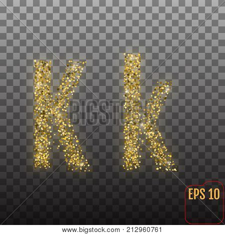 Vector Alphabet. Gold Letter K On Transparent Background.