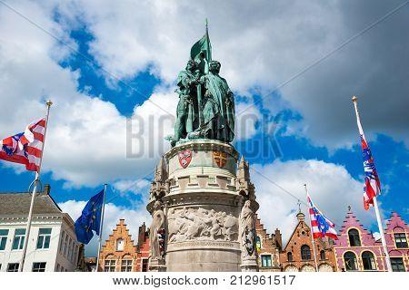 Bruges, Belgium - April 17, 2017: Monument to Jan Breydel and Pieter de Coninck in Bruges, Belgium