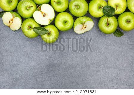 Apples Apple Fruit Fruits Copyspace Slate Green Top View