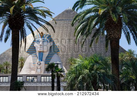 LAS VEGAS USA - CIRCA 2012: The Sphinx and Pyramid at the Egyptian themed Luxor Hotel and Casino