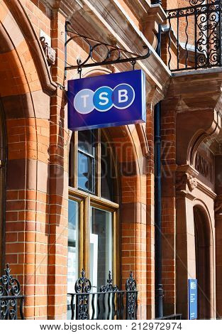 WINSLOW UK - CIRCA 2015: TSB bank (Trustee Savings Bank) logo sign hanging outside a bank