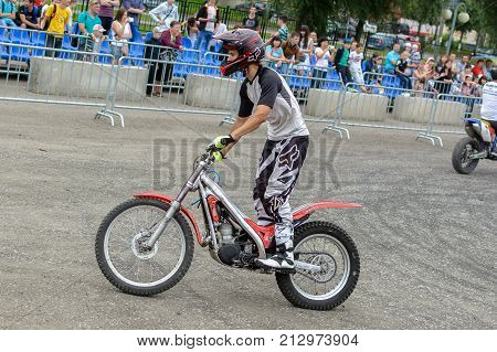 Yoshkar-Ola, Russia - August 9, 2015 Unknown racer Enduro during demonstration performances in Yoshkar-Ola, Russia