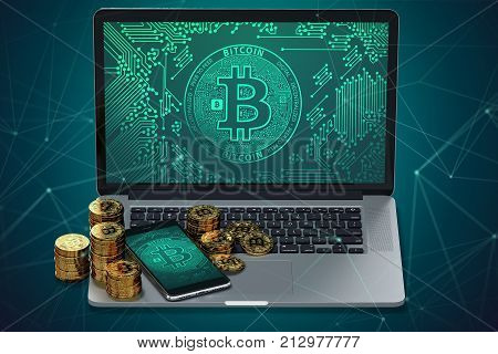 Laptop and smartphone with Bitcoin symbol on-screen and piles of golden Bitcoin. Bitcoin transfer concept. 3D rendering