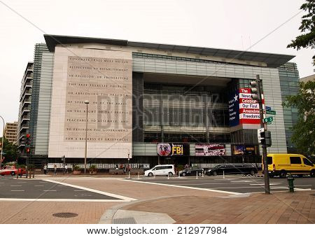 WASHINGTON DISTRICT OF COLUMBIA--SEPTEMBER 2017: The front entrance side of the Newseum in Washington DC an entire museum dedicated to the celebration and promotion of every American's rights granted in the First Amendment of our Constitution.