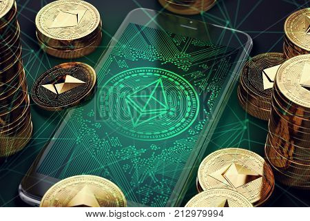 Smartphone with Ethereum symbol on-screen among piles of golden Ethereum coins. Ethereum virtual wallet concept. 3D rendering